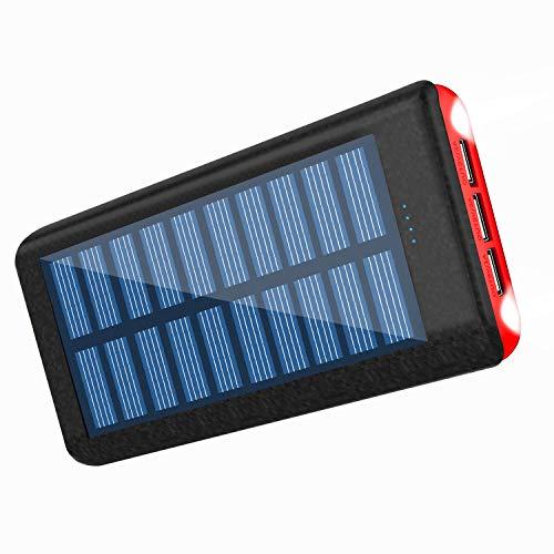 RuiPu ソーラーチャージャー モバイルバッテリー 大容量 PSE認証済 24000mah 二個LEDランプ搭載 急速充電対応 太陽エネルギーパネル3USB出力ポート 災害と外出に対応