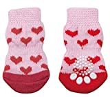 わんちゃん にゃんこ のおしゃれや足の保護に 滑り止め付き ソックス くつした 靴下 犬 猫 ペット 用 (ピンクハートL)