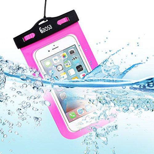 Gaosa 大きめサイズのスマートフォン用防水ケース 海 プール お風呂 旅行 山登り iphone6/6s/6 plus/5/5c/5s適用 透過率高い 防水保護等級水深20m 高級感 ネックストラップ付属 (ピンク)