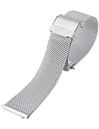 Best Master 腕時計 ベルト ミラネーゼ メッシュ ブレス ステンレス スライド式 バネ棒加工 ワンタッチで装着 クロス付属 ダニエルウェリントン 40mm ケース対応 (シルバー 20mm)