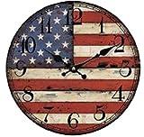 お洒落 ウォール クロック アンティーク 調 イギリス 国旗 ユニオンジャック アメリカ 国旗 星条旗 壁 掛け 時計 (01 アメリカ)
