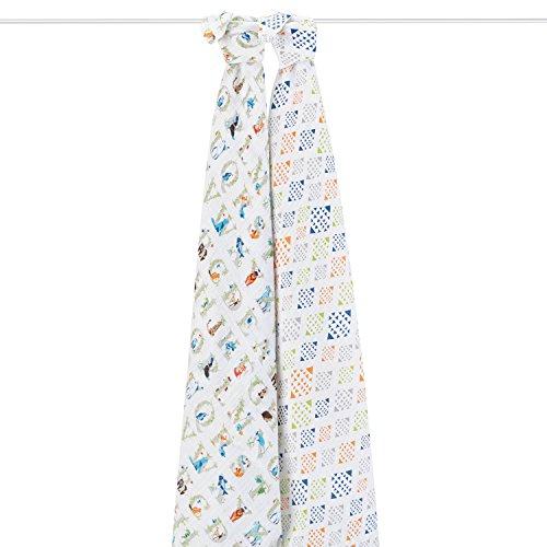aden + anais (エイデンアンドアネイ) 【日本正規品】 モスリンコットン おくるみ 2枚セット paper tales 2-pack swaddles-4034