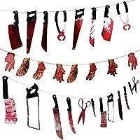 PartyYeah 血まみれの武器、フェイクブラッディハンドフィートガーランド小道具 ハロウィーンホラーゾンビバンパイア、怖いぶら下げるバナー、パーティー装飾用品、Scary Friday Nightのナイフハンマーシアー 28個、2.2m/7.2フィート