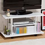 フリーな使い方が可能なテレビボード 32型TV対応 (キャスター付き) 動かせるテレビ台 省スペース対応 収納棚 オープンラック ホワイト色