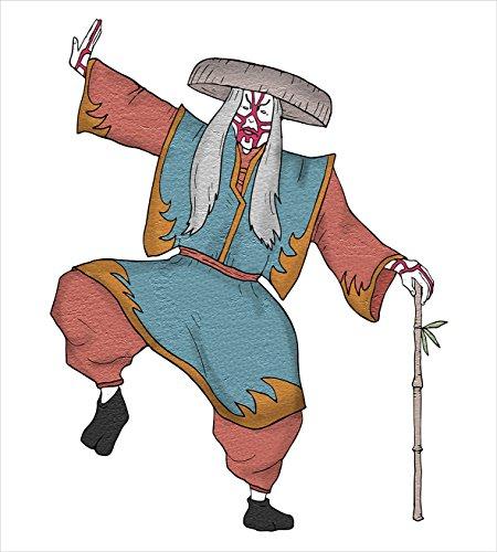 歌舞伎マスク装飾布団カバーセットby Ambesonne、文化的アジア文字Posing従来の帽子と枕メイクアップ衣装、装飾寝具セットで、マルチカラー QUEEN / FULL nev_37823_queen