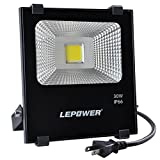 LED投光器 30W 防雨型 2M配線 プラグ付き 2500lm IP66 昼白色 広角 防犯灯 集魚灯 舞台 駐車場 屋外照明