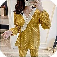 Surprise S Cotton Pajamas Long Sleeve Sweet Pyjamas Lace V Neck Sleepwear