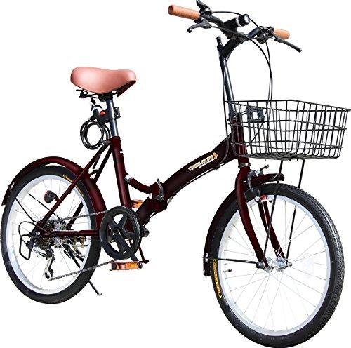 折りたたみ自転車 20インチ P-008 カゴ・フロントLEDライト・ワイヤーロック錠付き シマノ6段変速ギア 折り畳み自転車 小径車 ミニベロ PL保険加入 (ブラウン)