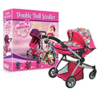 Deluxe Twin Doll Pram with Swiveling Wheels & Adjustable Handle and Free Carriage Bag