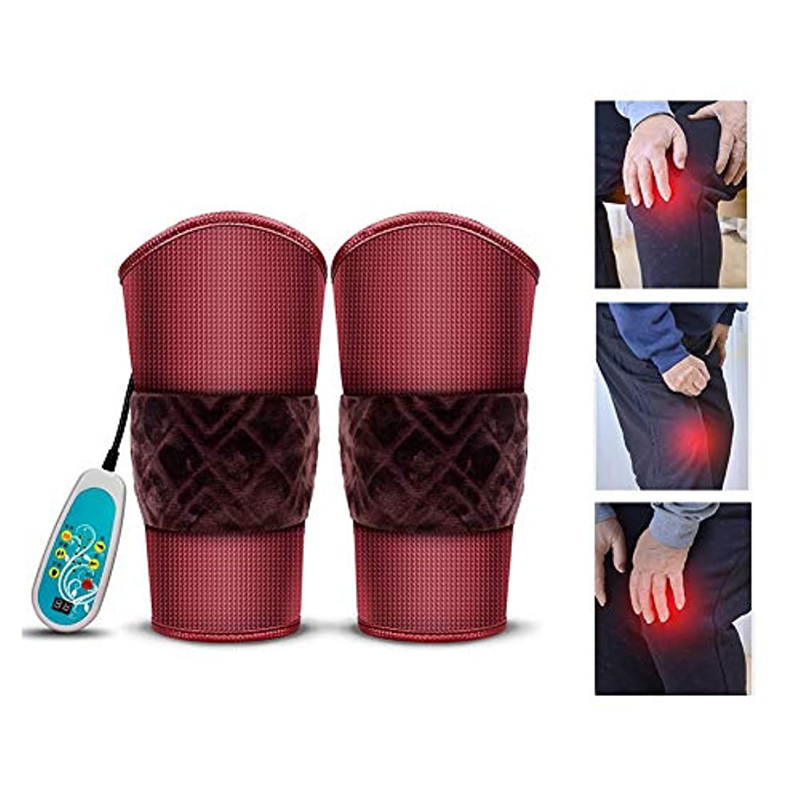 不良例外運営加熱膝ブレースサポート - 膝ウォームラップヒーテッドパッド - 9マッサージモードと3ファイル温度のセラピーマッサージャー、膝の怪我、痛みの軽減