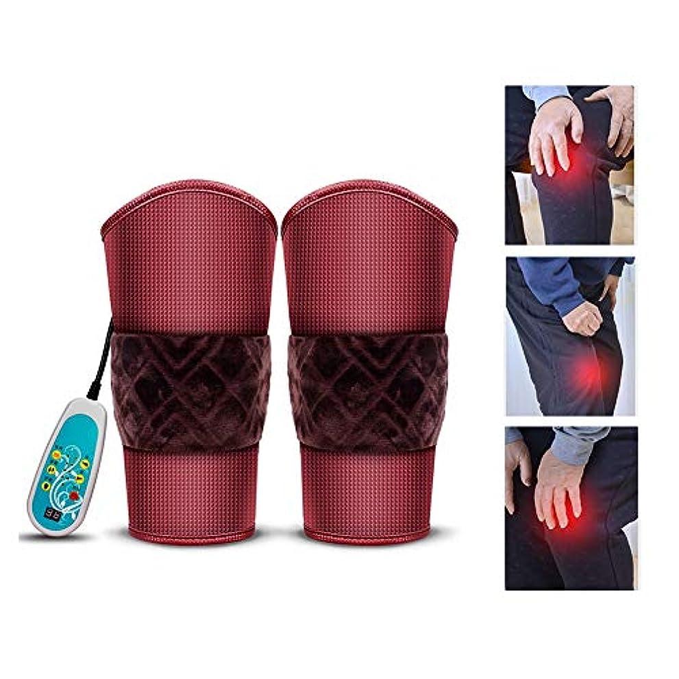 木材ジュラシックパークアクロバット加熱膝ブレースサポート - 膝ウォームラップヒーテッドパッド - 9マッサージモードと3ファイル温度のセラピーマッサージャー、膝の怪我、痛みの軽減