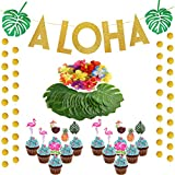(Set of 61sakollaハワイアントロピカルパーティーにSupplies Aloha Green Leaves AndゴールドGlitteryガーランドバナー、Tropical Leavesフラミンゴ花ハワイアンルアウ夏パーティー装飾用カップケーキトッパーピック