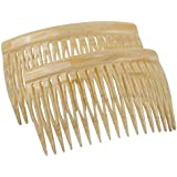 Charles J. Wahba Side Comb Pairs - 17 Teeth (Bone Color) Handmade in France