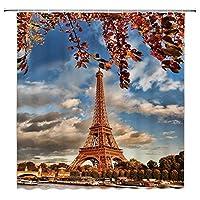 エッフェル塔ロマンチックなパリフランス秋都市の景観浴室の窓の装飾のための生地のホックが付いているポリエステル防水シャワー・カーテン60X72in
