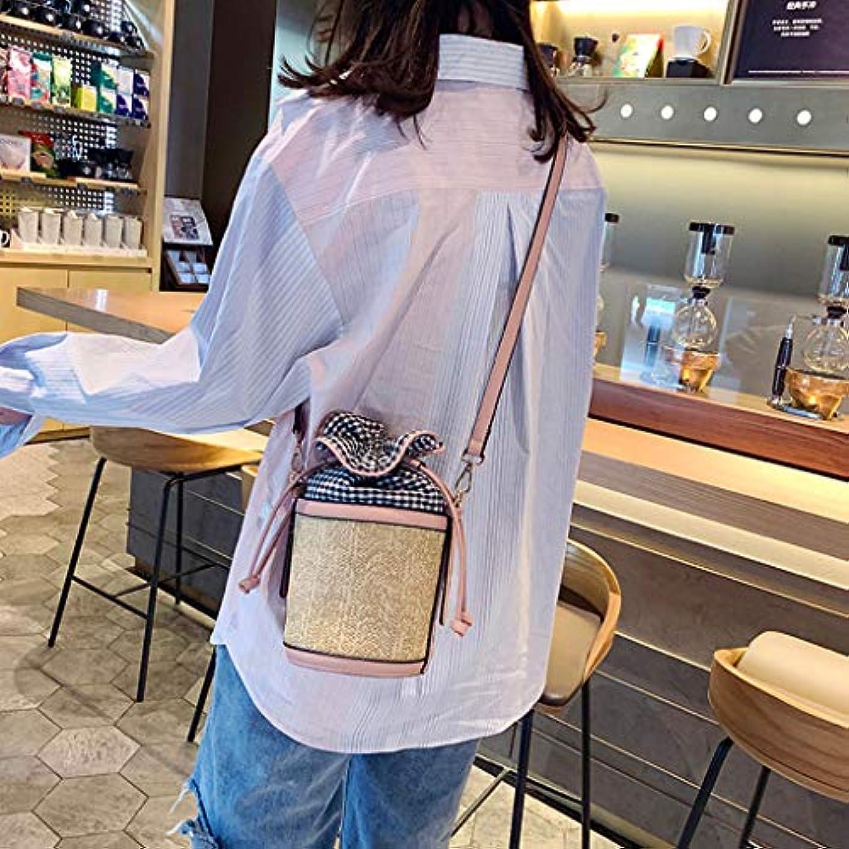 色合いセグメント下向きファッション女性レトロ織り格子革バケットバッグクロスボディバッグショルダーバッグ、女性のヴィンテージ織格子縞ステッチバケットバッグ斜めバッグ (ピンク)
