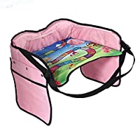 KOBWA 子供用車 テーブル 折り畳式 簡易 おもちゃ収納ポケット 座席サイドテーブル ボトル iPad ホルダー 車載クリーナー 食事 遊び 読書 ピンク