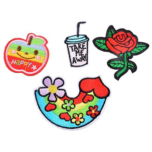 Souarts りんご・飲料・花・虹 アップリケ ワッペン アイロン接着 パッチ 飾り 4枚セット