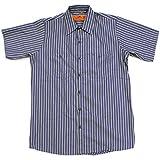 RED KAP(レッドキャップ)/SHORT SLEEVE STRIPE WORK SHIRTS(半袖ストライプワークシャツ) S KN:ネイビー/カーキ