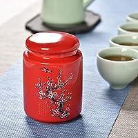 磁器紅茶缶,ティー キャディー ストレージ胸 陶器キャニスター セラミックス ティー キャディー-E