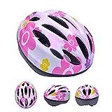 子供 ヘルメット 軽量 サイクリング 自転車 登山 スポーツ キッズ 安全 おしゃれ 一体成型 (ピンク・花)