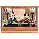 雛人形 ケース飾り ひな人形 ピンク塗パノラマガラスケース 親王飾り W42.5×D24.5×H30.5㎝ 2524Z