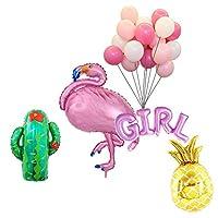 バルーン フラミンゴ サボテン パイナップル 風船 ラテックスバルーンセット ハワイアン ベビーシャワー 装飾 男の子 女の子 2タイプ選べる - ピンク