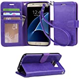 Galaxy S7 case, Arae [Wrist Strap] Flip Folio [Kickstand Feature] PU leather wallet case with ID&Credit Card Pockets For Samsung Galaxy S7 - purple