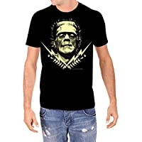 Rock Rebel Mens Universal Monsters Frankenstein with Bolts Black T Shirt