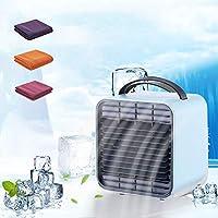 HANSHUMY 卓上扇風機 USB充電 4in1多機能 ボックス扇風機 卓上 冷風扇 ミニエアコンファン 小型 ポータブル イオン発生 夜間ライト 90°角度調節 3段階風量 熱中症対策 2000mAh大容量 静音 省エネ 冷却タオル 3色展開