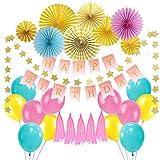 SUNBEAUTY 誕生日飾り付けセット【誕生日ガーランド ペーパーファン スターガーランド アルミバルーン】ハーフバースデー 飾り 装飾