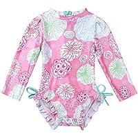 TiaoBug Baby/Toddler Girls Long Sleeve Zip Swimwear UPF 50+ One Piece Rash Guard Swimsuit