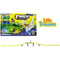 Track racing race tracks over a magnificent city bridge includes 2 . super fast pull back cars GO GO children love this toy great gift set for boys and girls