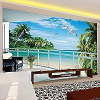 Xbwy カスタム3D壁紙バルコニーシーサイド風景ステレオ壁画リビングルームテレビソファ寝室の背景壁の家の装飾-200X140Cm