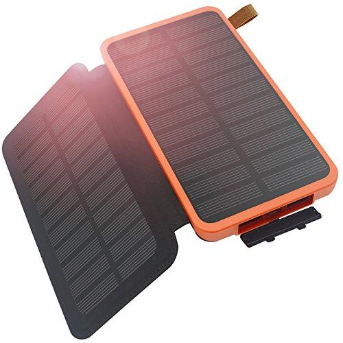 ソーラーチャージャー, FEELLE 8600mAh 大容量 防水 モバイルバッテリー 折りたたみ式 ソーラーパネル LEDライト搭載 防災 外出 耐衝撃 飛行機 iPhone iPad SAMSUNGに対応 2ポート USB ソーラー充電器 (オレンジ)