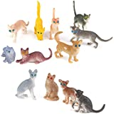 【ノーブランド品】人気動物のフィギュア 猫セット アニマル プラスチック おもちゃ モデル 12個セット