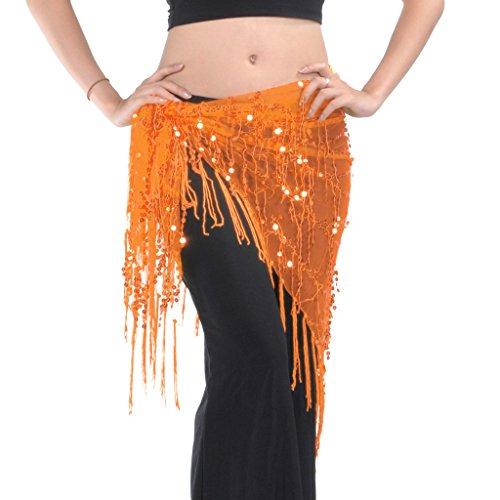 Astage女性スパンコールタッセル ラップベルト ベリーダンス三角形ヒップスカーフスカート ウエストバンドオレンジ