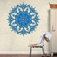 ホームインテリアウォールステッカー曼荼羅花インドのベッドルームウォールステッカー・壁用シールアートステッカー壁画ホームビニール家族の装飾、ブルー