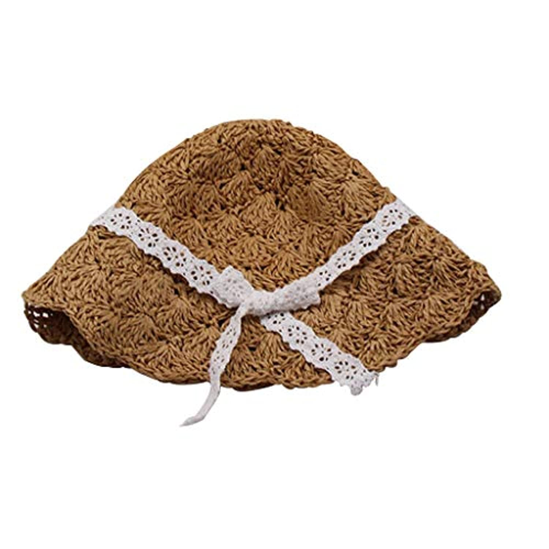 Homutin キッズ 麦わら帽子  日焼け止め 折りたたみ  紫外線対策  蝶結び  編込  手作り帽子