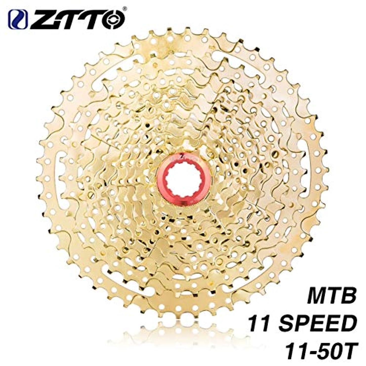 タクト砲撃顕現Saikogoods ZTTO 11スピードカセット、ロードバイク、シマノSramのシステム高張力鋼スプロケットコグ、折りたたみ小型ホイール自転車のギア、ゴールドのため11-50T互換性 ゴールド