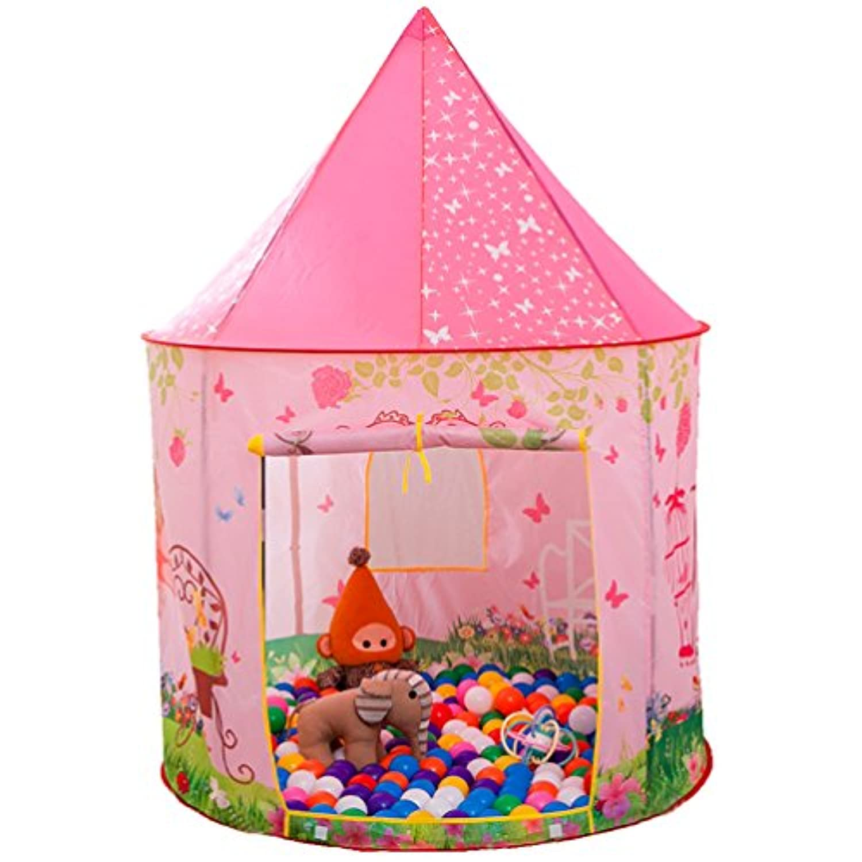 Anyshock テント 子供 折り畳み式 ポータブル 玩具収納 秘密基地 知育玩具 プレゼント 室内用 裏庭用 公園用 キッズテント ピンク