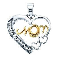 スターリングシルバーyellow-toneレディースラウンドダイヤモンドママ母ハートペンダント1/ 20cttw