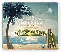ハワイオールドスクールアイランドインザホライズンサーフィンボードカイトビーチホリデーテーマブルーグリーンタンマウスパッド