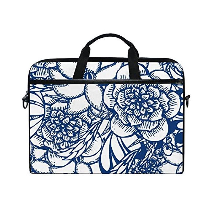 スライム治す約束するUKIO(ユキオ) ビジネスバッグ パソコン収納 インナーバッグ 保護用スリーブカバー PCケース 青い 花柄 15.4インチ