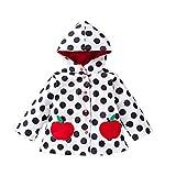 HYSENM 子供 レインコート かわいい 防風 ウインドブレーカー 防水 帽子付き 水玉 通園 通学 外出用 雨具 90-130cm五つのサイズ有り 春 秋 冬 女の子 男の子 りんご 120cm