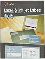 maco laser ink jet white address labels 1 x 4 inches 20 per sheet