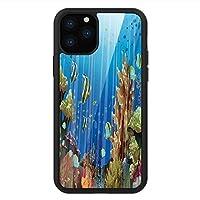 iPhone 11 Pro Max 用 強化ガラスケース クリア 薄型 耐衝撃 黒 カバーケース マリン マジェスティック・ユニバース深海世界の異国的サンゴ礁と海の生き物の自然 マルチカラー iPhone 11 Pro 2019用 iPhone11 Proケース用