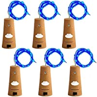 6 Pcs Cork Lights with Screwdriver Bottle Lights Fairy String LED Lights 59 Inches / 2 m Copper Wire 20 LED Bulbs for Party Wedding Concert Festival Christmas Tree Decoration - 6 Corlors (Blue)【クリスマス】【ツリー】 [並行輸入品]