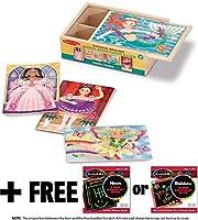 Fanciful Friends Puzzles in a Box + FREE Melissa & Doug Scratch Art Mini-Pad Bundle [95204]