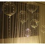 18インチライト風船 バルーン 透明ウェーブボール 夜灯 繰り返し使用可能 雰囲気飾る光る クリスマス 花火大会 パーティー 記念日 適用 お飾りライト付き(1枚入)