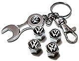 Volkswagen VW フォルクスワーゲン エアバルブキャップ 4個セット & キーホルダー型工具セット ブラック×シルバーカラー (¥ 950)